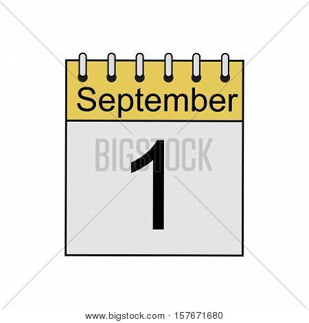September 1st calendar color icon. Knowledge Day. Isolated vector illustration
