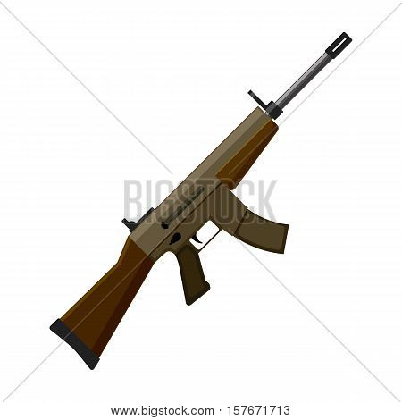 Military assault rifle icon in cartoon style isolated on white background. Military and army symbol vector illustration