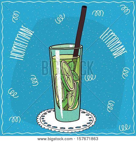 Homemade Lime Lemonade In Handmade Cartoon Style