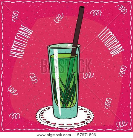 Homemade Tarragon Lemonade In Cartoon Style
