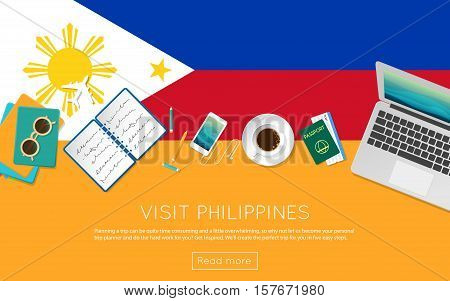 Visit Philippines Concept For Your Web Banner Or Print Materials. Top View Of A Laptop, Sunglasses A