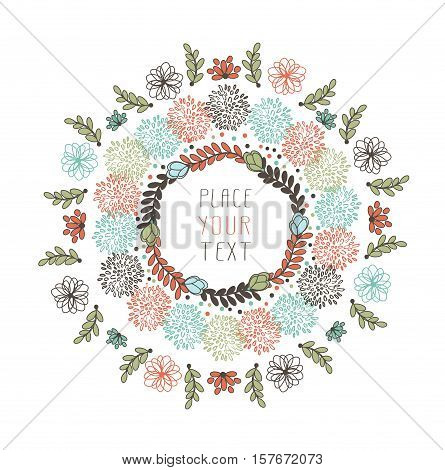 Abstract Floral Design With Flowers And Leaves