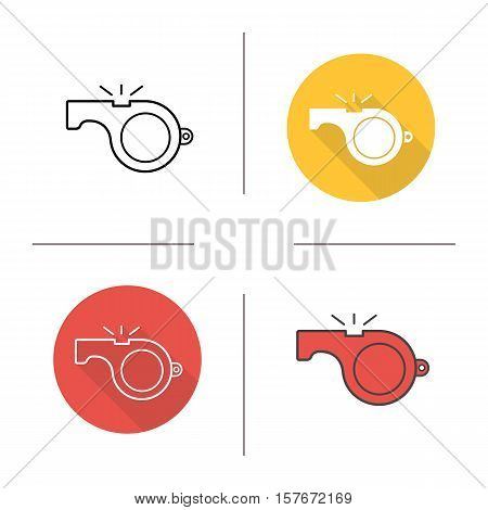 Whistle icon. Flat design, linear and color styles. Isolated vector illustrations