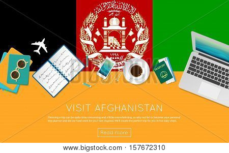 Visit Afghanistan Concept For Your Web Banner Or Print Materials. Top View Of A Laptop, Sunglasses A