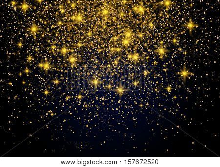 Vector luxury black background with gold sparklers. Sparkling Gold Explosion Vector festive illustration.