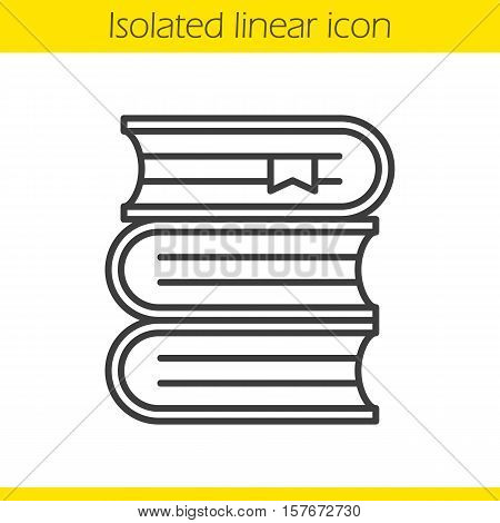 Books stack linear icon. Thin line illustration. School textbooks with bookmarks. Library contour symbol. Vector isolated outline drawing