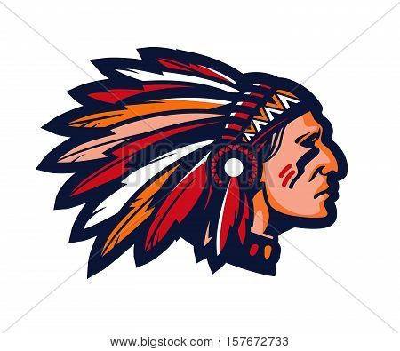 Indian chief. Logo or icon. Vector mascot isolated on white