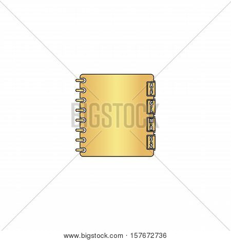 Organizer Gold vector icon with black contour line. Flat computer symbol
