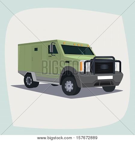 Isolated detailed images of three-dimensional collector car armored vehicle with cash the main device of collector guards in cartoon style. Side front view