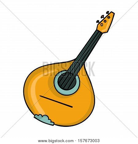 Italian mandolin icon in cartoon style isolated on white background. Italy country symbol vector illustration.