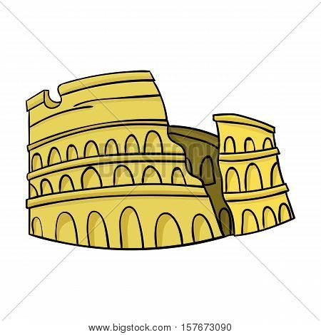 Colosseum in Italy icon in cartoon style isolated on white background. Italy country symbol vector illustration.