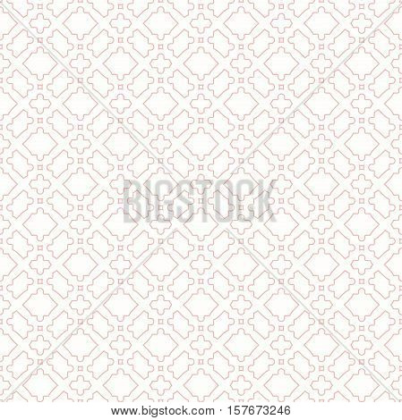Classic square frame with arabesques and orient elements. Abstract fine ornament with place for text. Light pink and white pattern