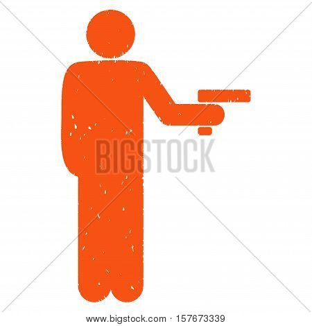 Robber With Gun grainy textured orange icon for overlay watermark stamps. Flat symbol with dust texture. Dotted vector ink rubber seal stamp with grunge design on a white background.