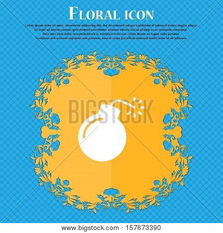 Bomb Icon Sign. Floral Flat Design On A Blue Abstract Background With Place For Your Text. Vector