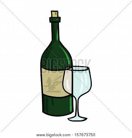 Italian wine from Italy icon in cartoon style isolated on white background. Italy country symbol vector illustration.