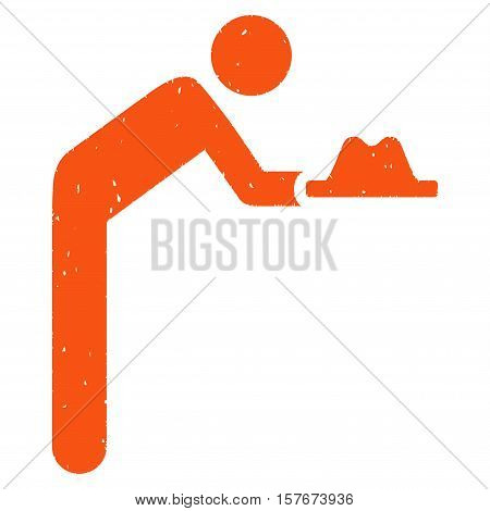 Servant With Hat grainy textured orange icon for overlay watermark stamps. Flat symbol with scratched texture. Dotted vector ink rubber seal stamp with grunge design on a white background.