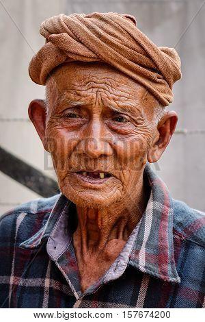 Portrait Of Burmese Old Man