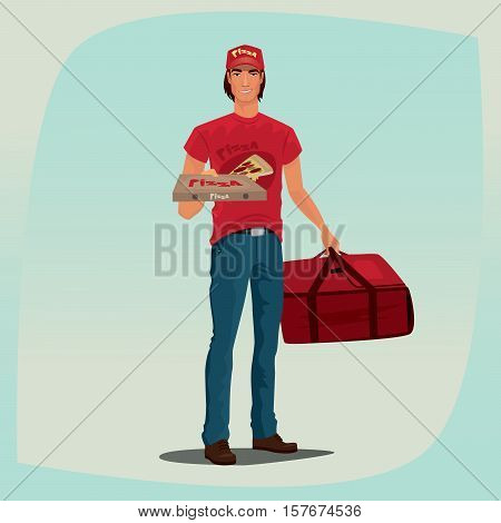 Man Holding Pizza Box And Courier Bag