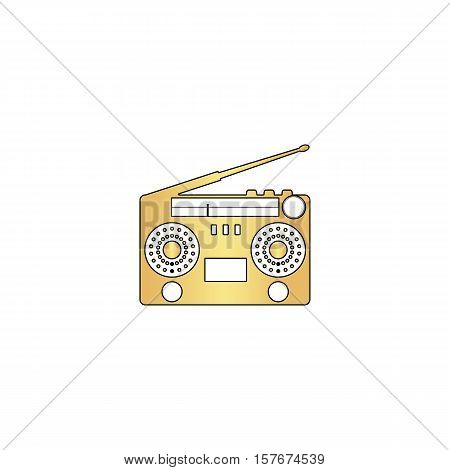 boombox Gold vector icon with black contour line. Flat computer symbol