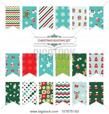 Christmas festive bunting flags set isolated on white. Patterns are full under clipping mask.