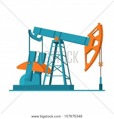 Oil pumpjack icon in cartoon style isolated on white background. Oil industry symbol vector illustration.