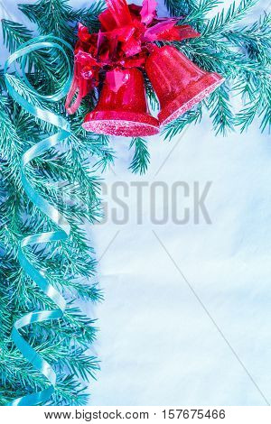Christmas Background With Branch And Jingle Bells