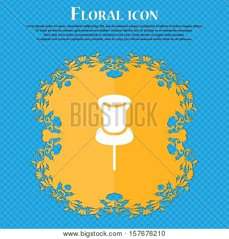 Clip Icon Sign. Floral Flat Design On A Blue Abstract Background With Place For Your Text. Vector