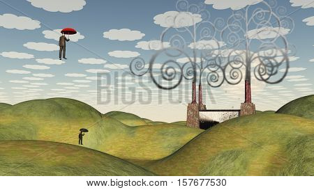 Fantastic landscape with man floating in sky under umbrella   3D Rendered