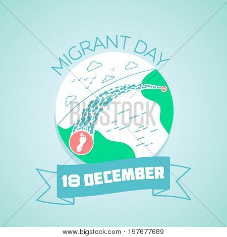 Calendar for each day on December 18. Greeting card. Holiday - migrant day. Icon in the linear style