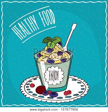 Natural Yogurt With Banana And Blueberry