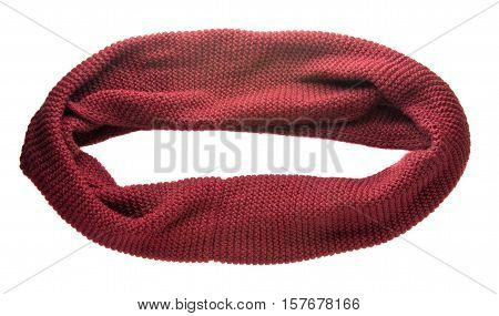 Scarf Isolated On White Background.scarf  Top View .dark Red Scarf