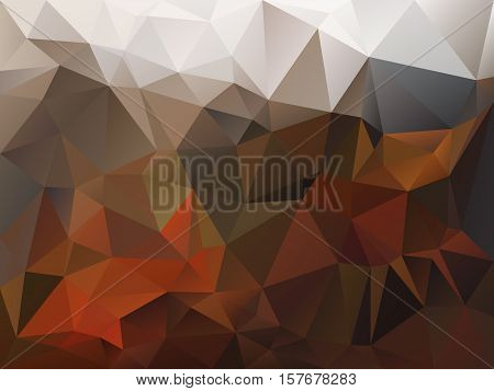 vector abstract irregular polygon background with a triangle pattern in autumn brown orange beige and gray color
