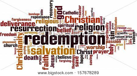 Redemption word cloud concept. Vector illustration on white