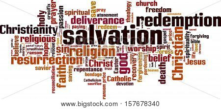 Salvation word cloud concept. Vector illustration on white poster