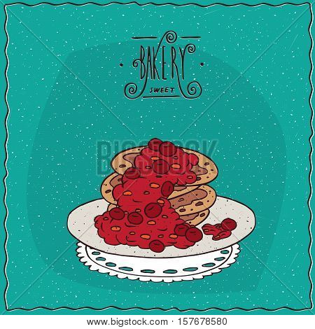 Pancakes With Red Berries On Lacy Napkin