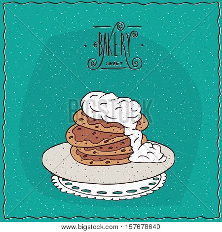 Pancakes With Sour Cream On Lacy Napkin