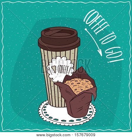 Paper Cup Of Coffee With Muffin In Brown Paper
