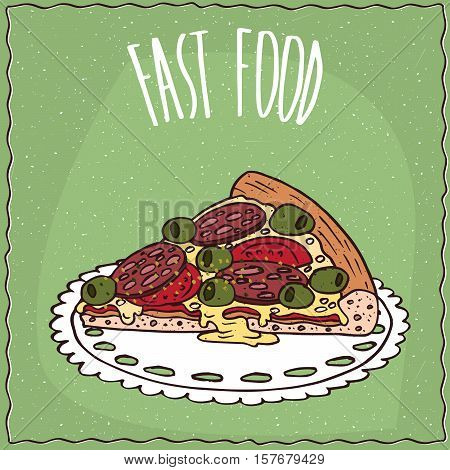 Piece Of Italian Pizza In Handmade Cartoon Style