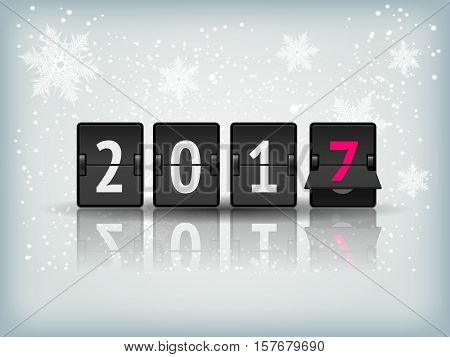 Holiday greeting card with snowflakes and 2017 numbers. Happy New Year abstract blue winter snow background texture with analog airport board numbers. Vector Illustration Holiday snowfall background.