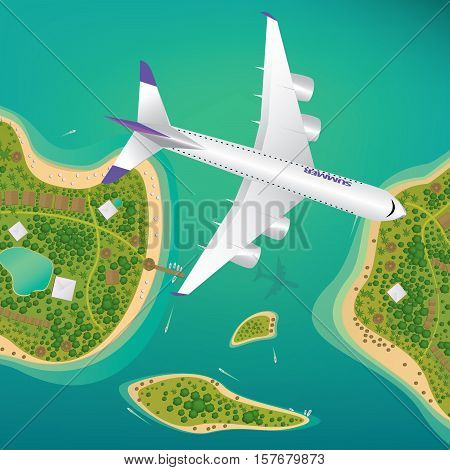 Plane Flies Over A Few Tropical Islands