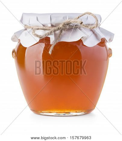 Pot of jam on white background with clipping path