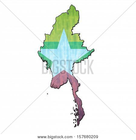 Myanmar Territory With Flag