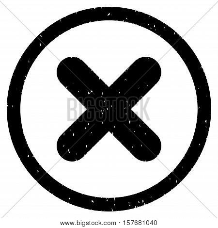Cancel rubber seal stamp watermark. Icon vector symbol with grunge design and corrosion texture. Scratched black ink sticker on a white background.