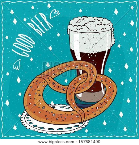 Pretzel Or Kringle With Glass Of Stout Or Porter