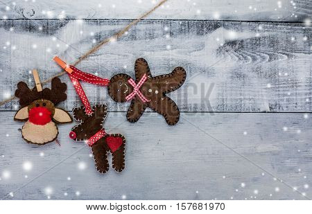 Christmas idea on white wooden background copy space