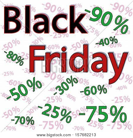 Black Friday Background With Discount Percentages