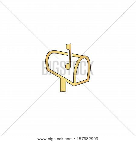 Mailbox Gold vector icon with black contour line. Flat computer symbol