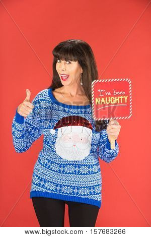 Single Woman In Blue Sweater With Naughty Sign