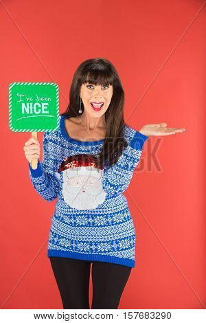 Happy Woman Holding Nice Sign