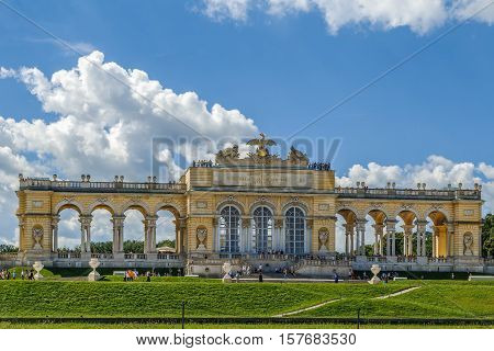 Gloriette in Schonbrunn Palace Garden in Vienna Austria is built in 1775 as a temple of renown